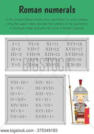 Roman Numerals Educational Sheet. Primary Module For Numerical Ability. 5-6 Years Old. Educational S