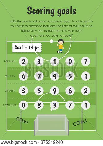 Scoring Goals Educational Sheet. Primary Module For Numerical Ability. 5-6 Years Old. Educational Sh