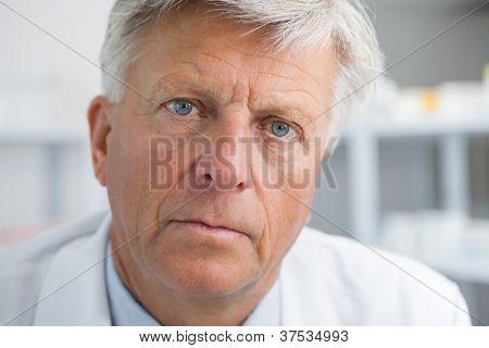 Earnest looking mature doctor
