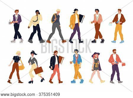 Diverse Multi-ethnic People Walking Isolated Set. Caucasian, Afro-american, European Young Man Woman