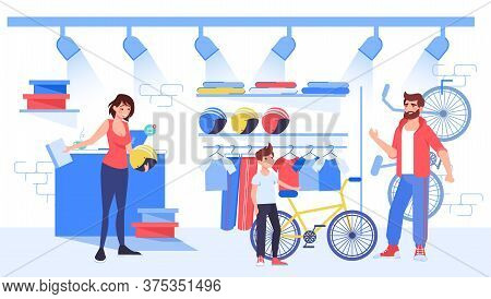 Parent Choose Bicycle To Buy For Young Son Cyclist At Bike Store. Woman Shop Assistant Offer To Orde