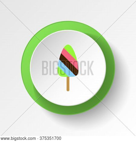 Ice Cream Mix Colored Button Icon. Element Of Ice Cream Illustration Icon. Signs And Symbols Can Be