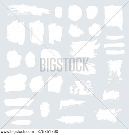 Vector White Grunge Watercolor, Ink Texture Set Of Hand Painted Dry Brush Splashes, Strokes, Stains,