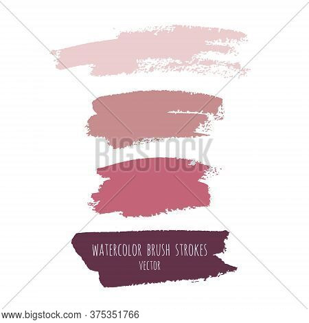 Vector Grunge Watercolor Ink Texture Set Of Hand Painted Pastel Powder Color Abstract Dry Brush Spla