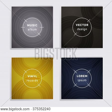 Gradient Vinyl Records Music Album Covers Set. Semicircle Curve Lines Patterns. Flat Creative Vinyl
