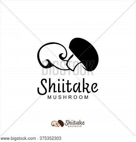 Shiitake Mushroom Logo Simple Modern Dark Black Color. Agriculture Vector Design Template