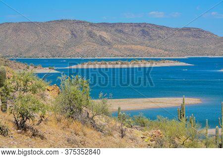 View Of Lake Pleasant In Lake Pleasant Regional Park, Sonoran Desert, Arizona Usa