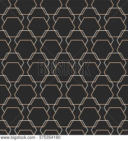 Continuous Linear Graphic Cell, Art Pattern. Repeat Black Vector Luxury Array Texture. Repetitive Ge