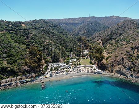 Aerial View Of Santa Catalina Island With Descanso Bay And Beach Club. Usa, Famous Tourist Attractio