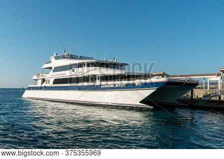Aerial View Of Catalina Express Speedboat Next To Santa Catalina Island, , Famous Tourist Attraction