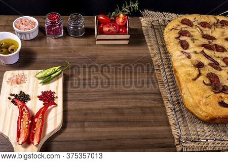 Traditional Italian Focaccia With Pepperoni, Cherry Tomatoes, Black Olives, Rosemary Ando Onion - Ho