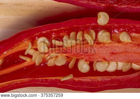 Close Up Extreme Of Red Pepper And Seeds. Macro