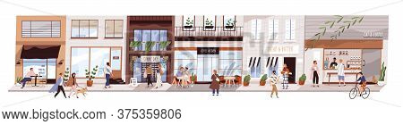 Small Urban Street With Cafes And Shops Vector Flat Illustration. Happy Man, Woman And Couples Walki