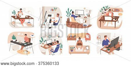 Set Of Freelance People Working Remotely Vector Flat Illustration. Collection Of Man And Woman Use C