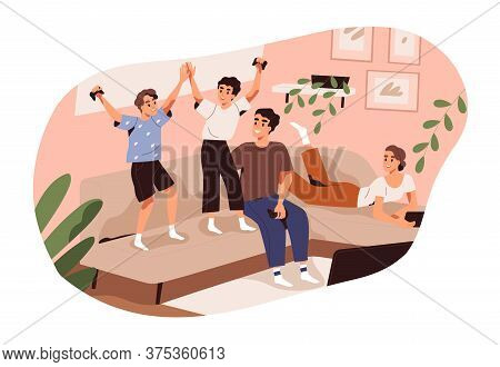 Happy Family Spending Time Together At Home Vector Flat Illustration. Parents And Children Playing V