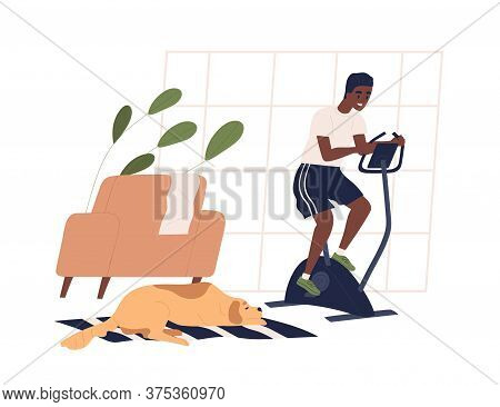 Smiling Black Skin Guy Doing Sports At Home Vector Flat Illustration. Active Male Enjoying Cycling W
