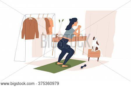 Smiling Woman Training At Home With Dumbbell Vector Flat Illustration. Joyful Female Enjoying Physic