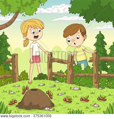 Two Children Watching Ants In The Garden. Hand Drawn Vector Illustration With Separate Layers.