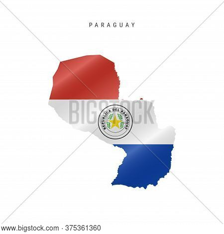 Detailed Waving Flag Map Of Paraguay. Vector Map With Masked Flag.
