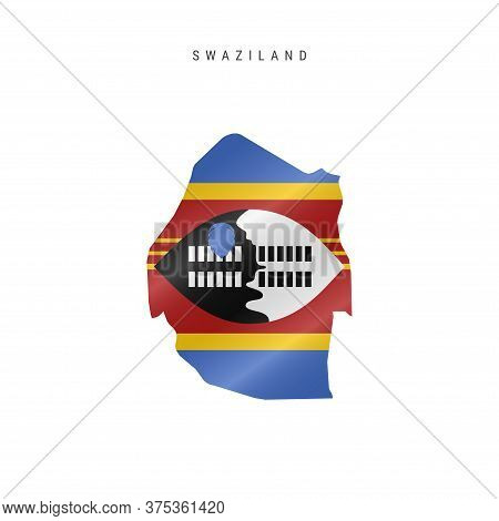 Detailed Waving Flag Map Of Swaziland Or Eswatini. Vector Map With Masked Flag.