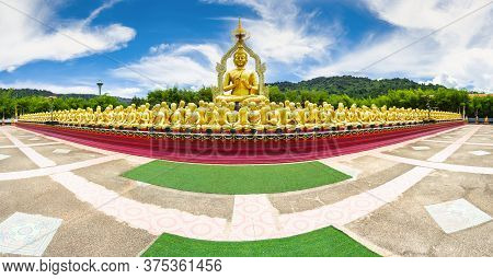 Row Of Disciple Statues Surrounding Big Buddha Statue In Public To The General Public Worship Worshi