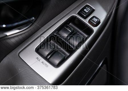 Novosibirsk/ Russia - April 22 2020: Toyota Land Cruiser Prado, Close Up Of A Door Control Panel In