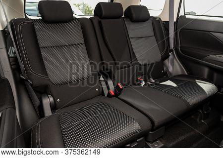 Novosibirsk/ Russia - July 07 2020: Mitsubishi Outlander, Comfort Car Inside. Clean Car Interior: Bl