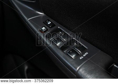 Novosibirsk/ Russia - July 07 2020: Toyota Allex, Close Up Of A Door Control Panel In A New Modern C