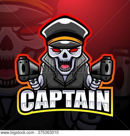Vector Illustration Of Captain Skull Mascot Esport Logo Design