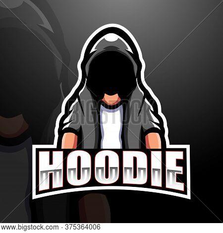 Vector Illustration Of Mysterious Hooded Man Mascot Esport Logo Design