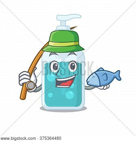 Cartoon Design Style Of Hand Sanitizer Goes To Fishing