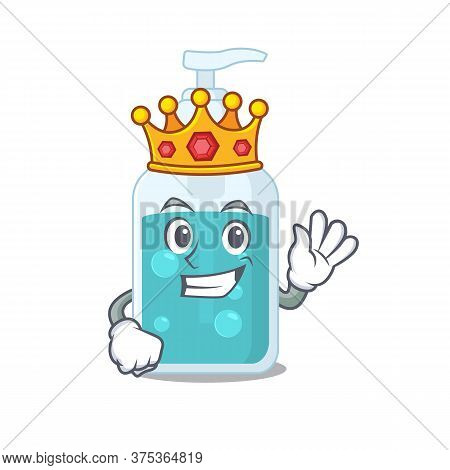 A Wise King Of Hand Sanitizer Mascot Design Style With Gold Crown