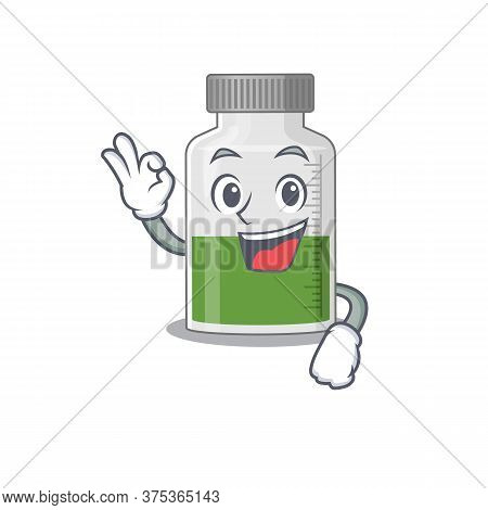 Vitamin Syrup Mascot Design Style Showing Okay Gesture Finger