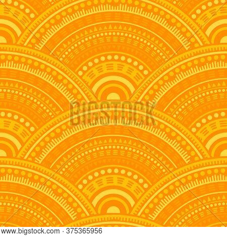 Indian Fish Scale Tile Design Vector Seamless Pattern. Folk Motifs Geo Repeating Illustration. Easte