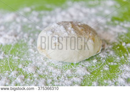 Rice Flour / Fresh Raw Dough Flour Pizza Making Homemade Pastry For Bread Or Pizza Bakery Background
