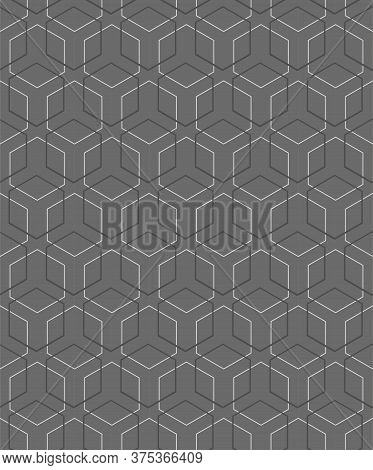 Repetitive Classic Vector Rhombus, Shapes Texture. Repeat Creative Graphic Hex Art Pattern. Seamless