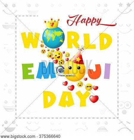 Happy World Emoji Day Creative Congrats. Isolated Abstract Graphic Design Template. Smile Icon And T