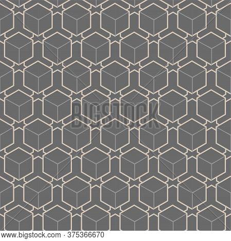Continuous Decorative Vector Symmetrical, Print Texture. Repetitive Elegant Graphic Rhombus Art Patt
