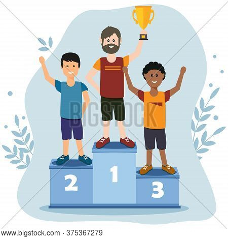 Male Athletes Stand On The Podium, Vector Illustration In Flat Style, Design, Decoration, Banner, Po