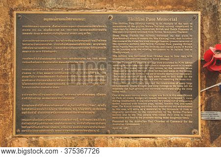 Kanchanaburi, Thailand - January 17, 2020 : Metal Plate Of Thai And Englsh For Hellfire Pass Memoria