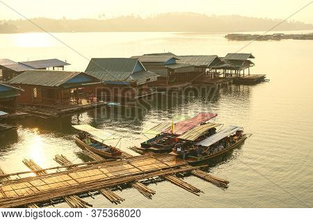 Kanchanaburi, Thailand - January 17, 2020 : Tourists In A Travel Boat At Sam Pra Sob In Sangkhla Bur