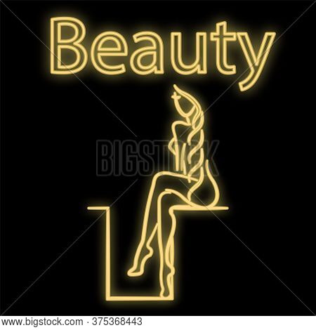 Bright Luminous Yellow Neon Sign For A Beauty Salon Spa Sauna Bath Beautiful Beautiful Shiny Beauty