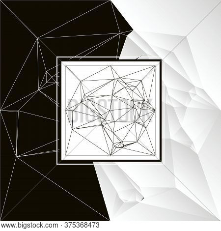 3d Background In Black And White Lines Of Different Sizes With Half Pages Of A Completely White Back