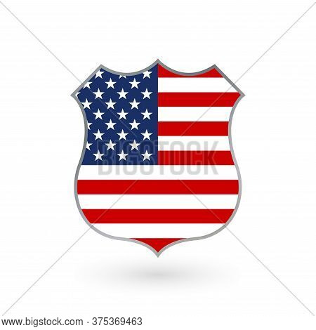 Us Flag In The Shape Of A Police Badge. American Flag Icon. United States Of America National Symbol