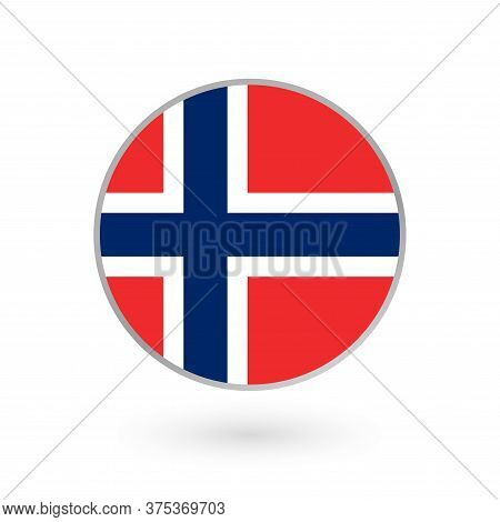 Flag Of Norway Round Icon, Badge Or Button. Norwegian National Symbol. Vector Illustration.