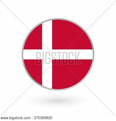 Denmark Flag Icon Isolated On White Background. Danish Round Badge. Vector Illustration.