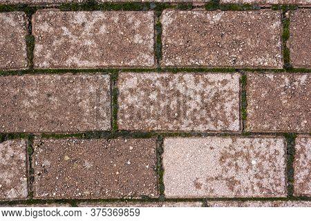 Texture Of Paving Tiles Burgundy Color. Section Of The Track In The Park.texture Of The Track Or Til
