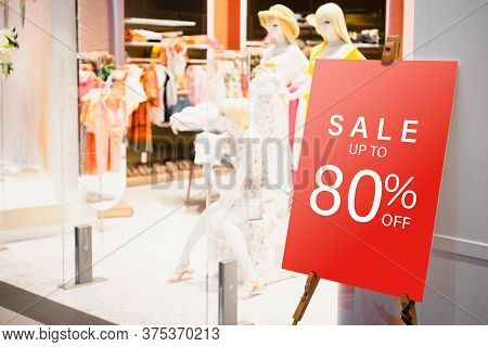 Sale Label Billbord Stand Template In Front Of Female Clothing Store For Sale Promotion And Discount