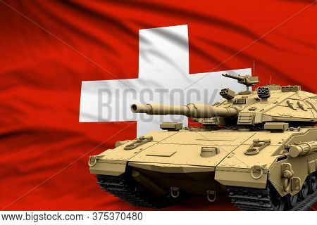 Switzerland Modern Tank With Not Real Design On The Flag Background - Tank Army Forces Concept, Mili