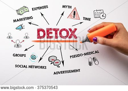 Detox. Marketing, Myth, Pseudo - Medical And Social Networks Concept. Chart With Keywords And Icons